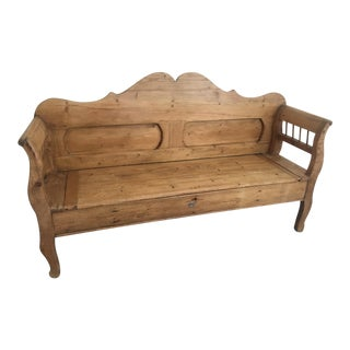 Late 19th Century French Country Czech Pine Storage Bench