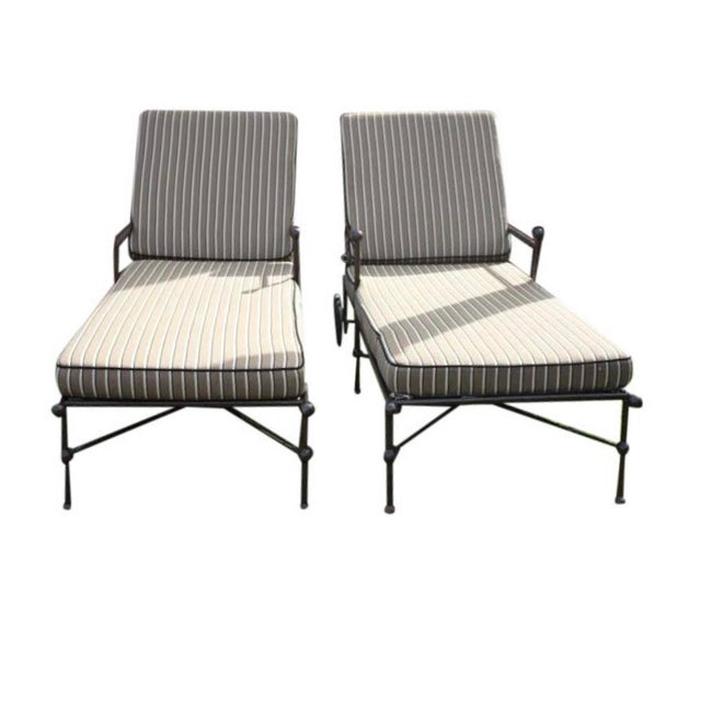 Chaise Lounge Chairs With Custom Sunbrella Cushions - a Pair For Sale - Image 9 of 9