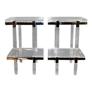 """Charles Hollis Jones """"Metric"""" Line Side Tables Signed - a Pair For Sale"""