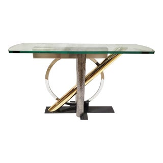 Memphis Kaizo Oto for Dia Mixed Metals & Glass Console Table For Sale