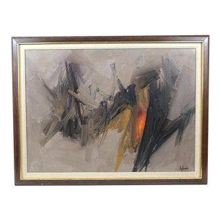 Mid-Century Framed Abstract Painting For Sale