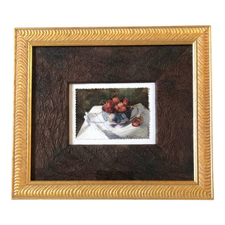 Original Miniature Still Life Watercolor Cherries in Cup For Sale