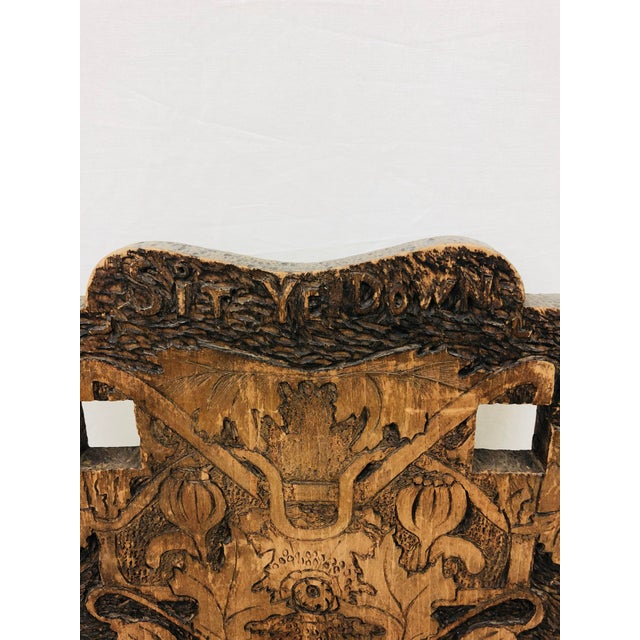 1900s Antique Arts & Crafts Hand Carved Chair For Sale - Image 5 of 9
