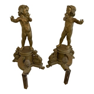 Antique French Solid Bronze Andirons - a Pair For Sale