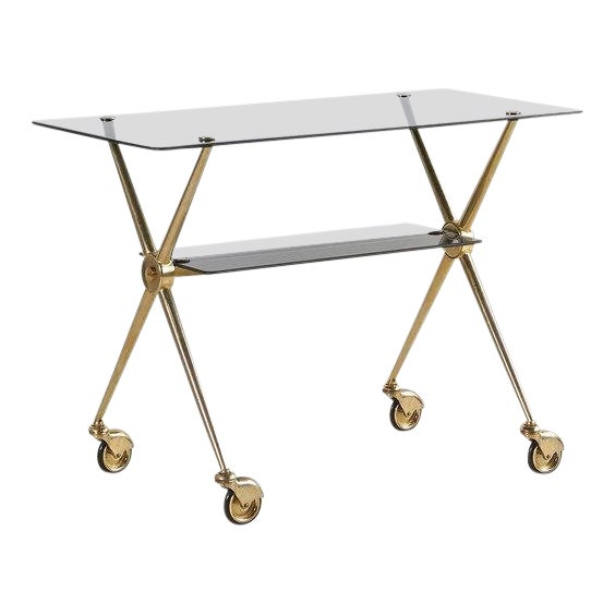 French Brass and Smoked Glass Rolling Bar Cart For Sale