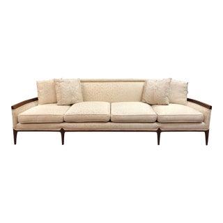 Vintage Mid-Century Modern Walnut Long Sofa For Sale