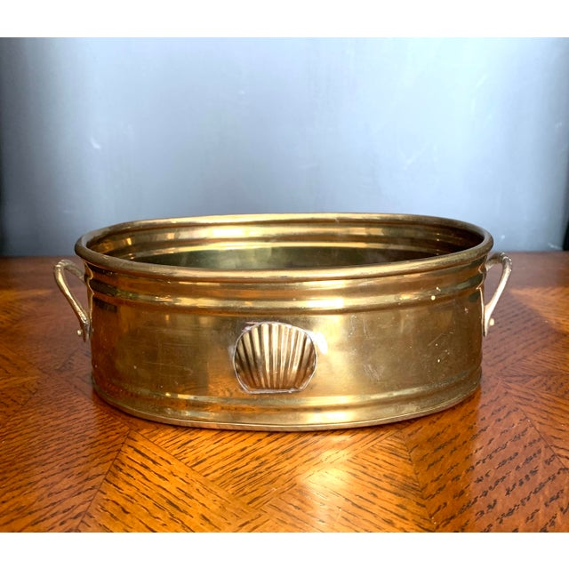 Vintage Brass Scalloped Shell Planter For Sale - Image 11 of 11
