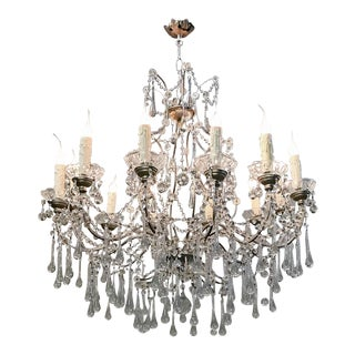 Antique Bronze and Crystal Chandelier For Sale