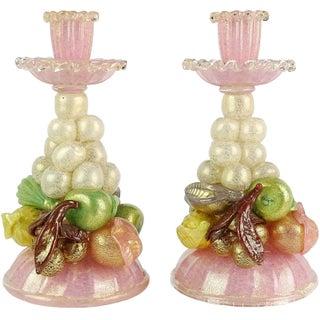 Ercole Barovier Italian Murano Pink Gold Art Glass Fruit Sculptural Candlesticks - a Pair For Sale