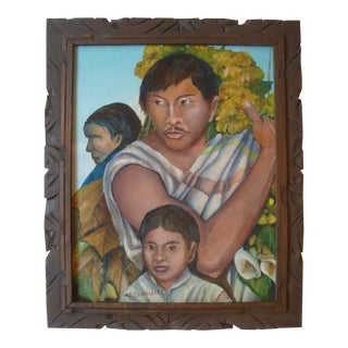 Mexican Framed Painting of Latin American Flower Vendors Family For Sale