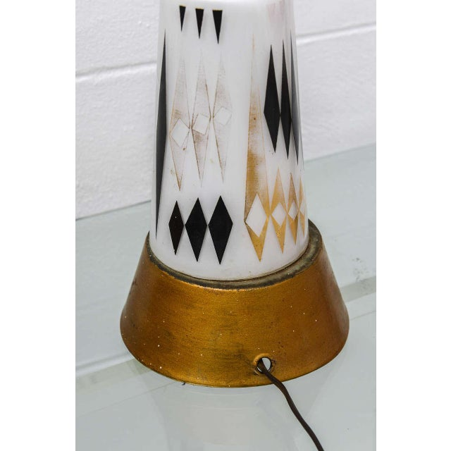 Pair of 1950s MCM Glass Lamps--Usa For Sale - Image 4 of 8