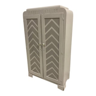 Art Deco Re-Purposed Gray Chevron Wardrobe