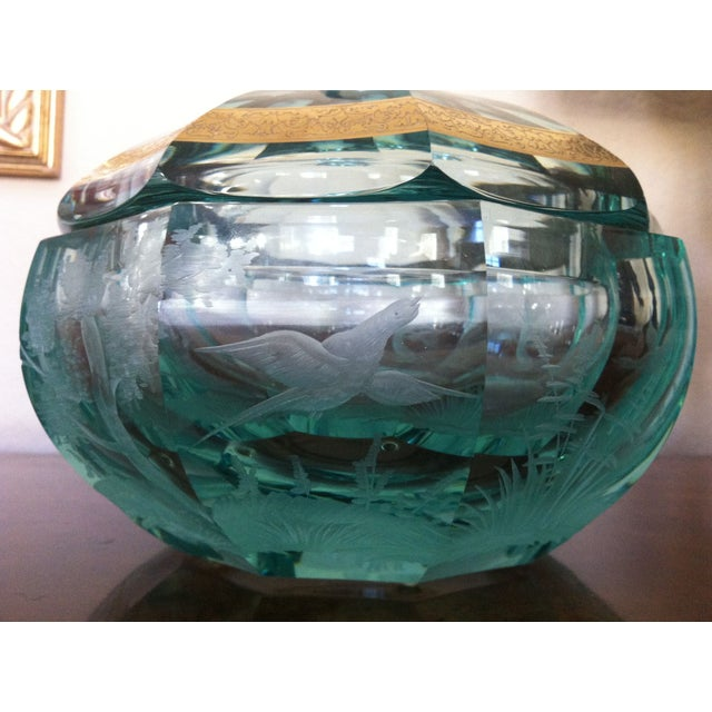 Green Moser Crystal Candy Dish, Signed - Image 4 of 7