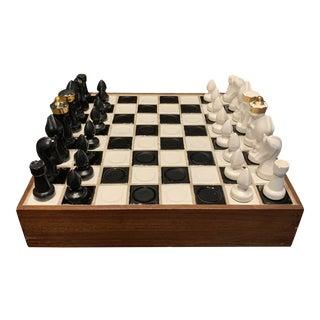 Mid Century Ceramic Chess Set For Sale