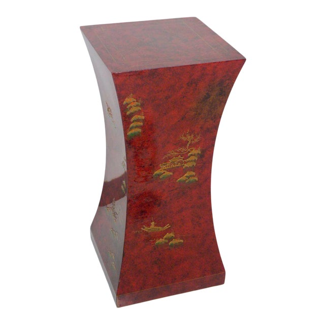 1970's Vintage Red Asian Style Pedestal For Sale
