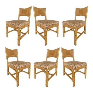 John Hutton Donghia Rattan Dining Chairs W/ Cowtan & Tout Fabric-Set of 6 For Sale