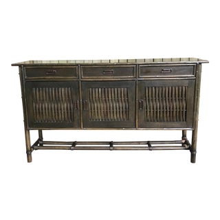 Vintage Tiki Style Faux Bamboo Sideboard Buffet For Sale