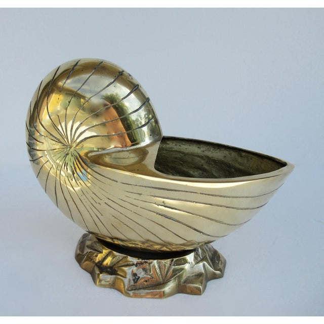 C.1970's Vintage Mid-Century Modern Brass Nautilus Shell Bottle Cooler For Sale - Image 4 of 13