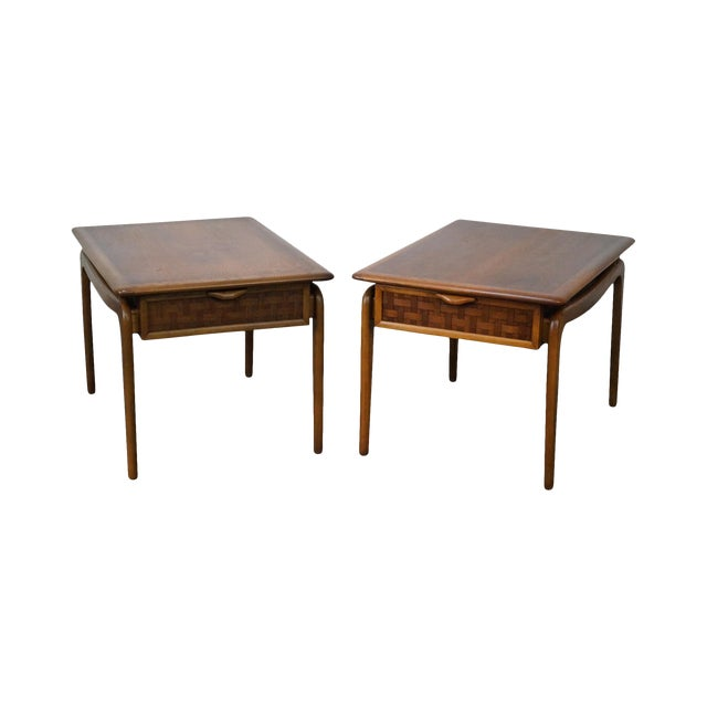 """Lane """"Perspective"""" Walnut End Tables - A Pair - Image 1 of 10"""