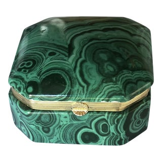 Vintage Mid-Century Frederick Cooper Faux Malachite Box For Sale
