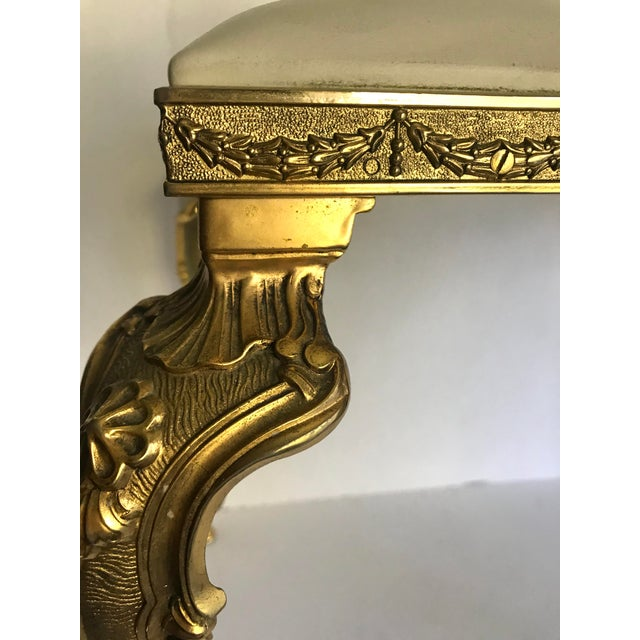 Early 20th Century Vintage Regency Brass Vanity Stool Made in Italy For Sale - Image 5 of 11