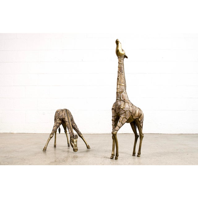 Large Mid Century Brass Giraffe Floor Statues For Sale - Image 10 of 11