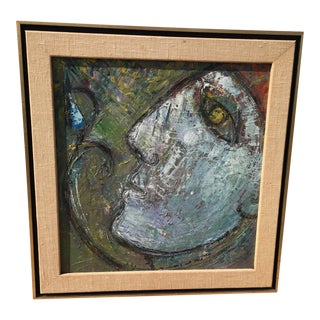 1950s Thick Impasto Mid Century Mod Oil on Panel of a Woman For Sale