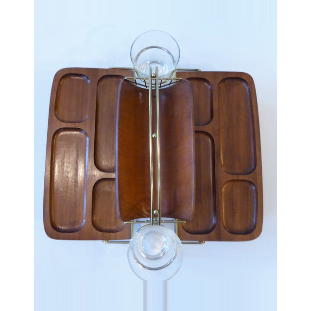 Mid-Century Modern Folding Wood/Gold Dual Appetizer Tray or Bar Caddy For Sale - Image 4 of 8