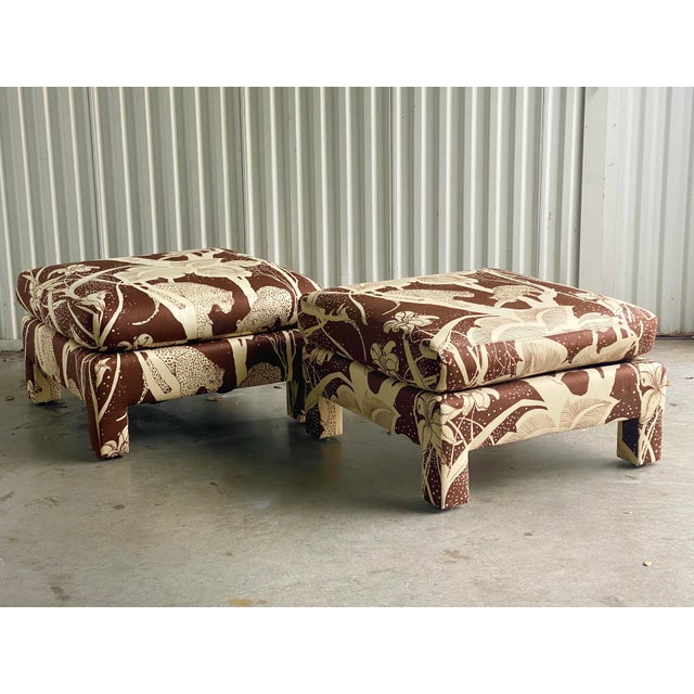 Vintage Cheetah Print Ottomans - a Pair For Sale In Miami - Image 6 of 8