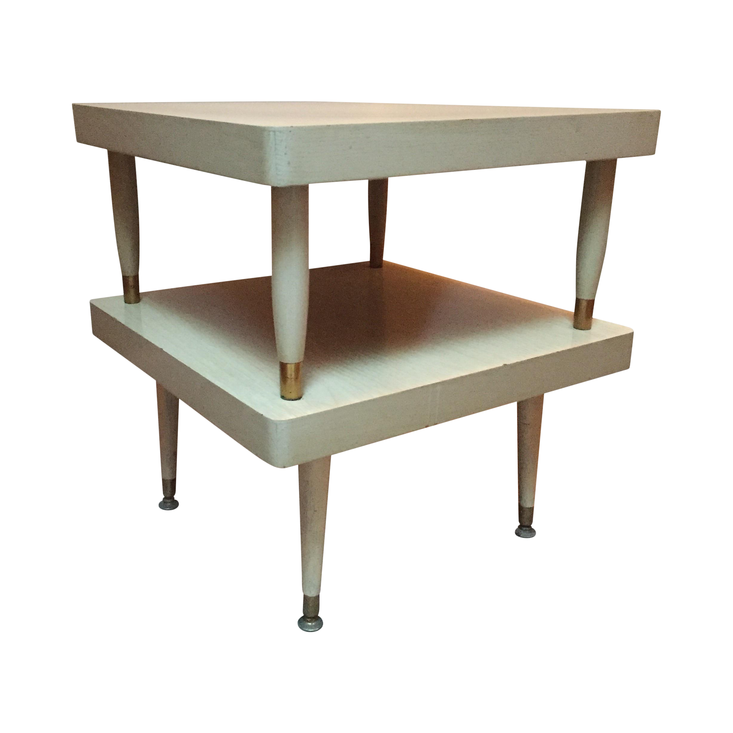 Perfect Mid Century Two Tier Blonde Wood Step Side Table