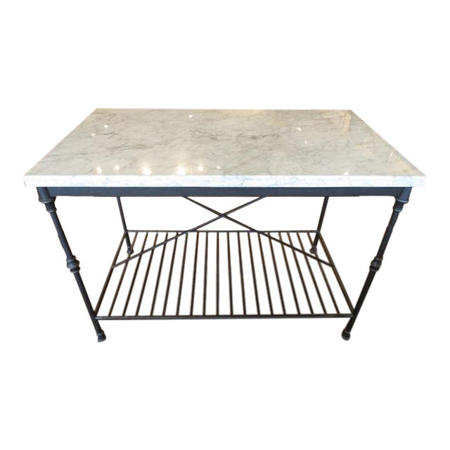 Marble Top Metal Base Kitchen Island - Image 1 of 9