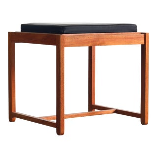 Erik Buch For OD Mobler Footstool / Ottoman in Teak and Leather For Sale