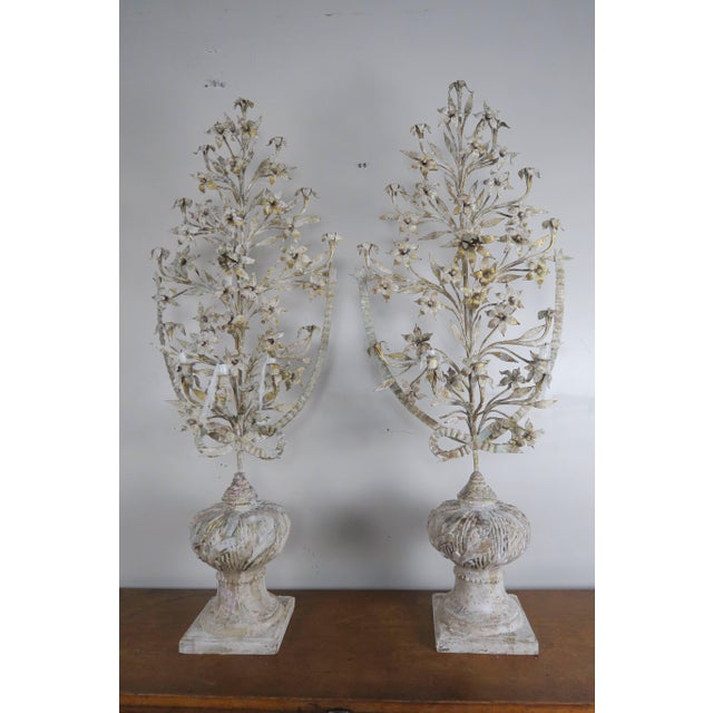 1900s Vintage French Painted and Metal Bouquets of Flowers- a Pair For Sale - Image 10 of 10
