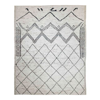 Afghan Rug in Moroccan Design With Black & Brown Tribal Patterns on Ivory Field For Sale