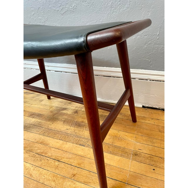 1950s Hans Wegner Piano Stool in Teak and Black Leather For Sale - Image 9 of 10