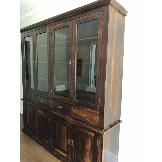 Indonesian Glass & Wood Breakfront Bookcase For Sale In New York - Image 6 of 9