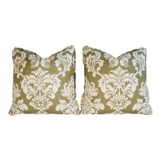 "21"" Designer Brule Fabric Randall Damask Feather/Down Pillows - Pair For Sale - Image 11 of 11"