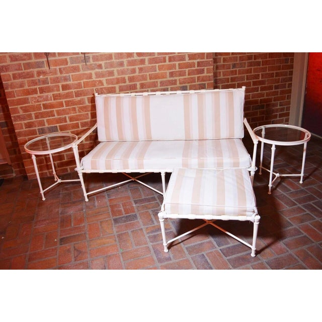 Brown Jordan Cast Metal Outdoor Settee, Ottoman & Accent Tables For Sale - Image 12 of 12
