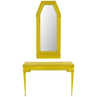 Empire Style Console and Mirror in Glazed Yellow Lacquer For Sale