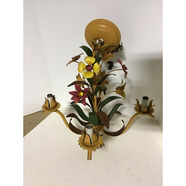 French Tole Ware Hand Painted Chandelier For Sale In Cleveland - Image 6 of 8