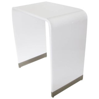 Mid-Century Modernist White Acrylic Lucite Waterfall Console Table
