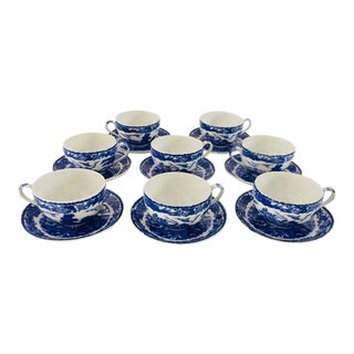 Antique Blue & White Japanese Teacups & Saucers - Set of 16
