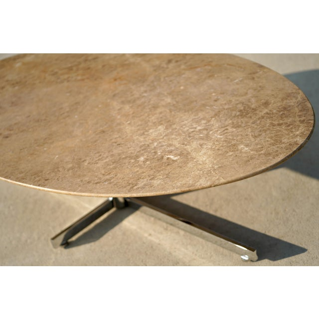 Knoll 1960s Knoll Style Marble Elliptical Oval Coffee Table For Sale - Image 4 of 8