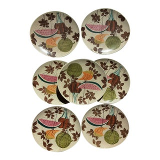 Mid Century Futura Tampico Red Wing Dinner Plates - Set of 7 For Sale