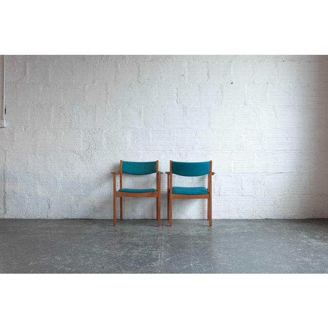 Mid-Century Modern 1960s Mid-Century Modern Teal Armchairs - Set of 6 For Sale - Image 3 of 8