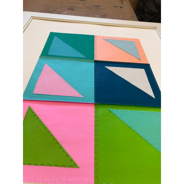 Abstract Natasha Mistry Contemporary Geometric Patchwork Collage For Sale - Image 3 of 13