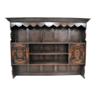 Antique English Jacobean Buffet Hutch Plate Rack For Sale