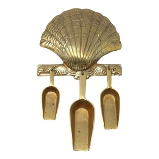 Vintage Brass Crab and Scallop Shell Scoop Set With Wall Hanger For Sale