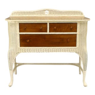 19th Century American White-Painted Wicker Sideboard With Woven Backrail For Sale