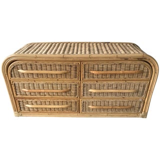 Postmodern Wicker and Bamboo Six-Drawer Dresser For Sale